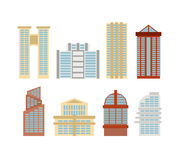 Colored skyscrapers, office buildings of modern city. Vector set Stock Photo