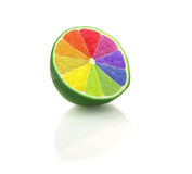 Colored sliced lime isolated Stock Images