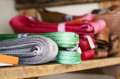 Colored slings operating procedures for heavy loads Stock Photography