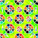Colored small circles on a green background psychedelic geometric seamless abstract pattern Stock Image