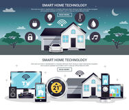 Colored Smart Home Banner Set Royalty Free Stock Photography