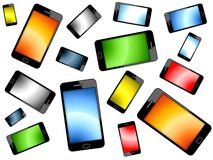 Colored Smart Phones Background. Isolated On White Stock Photo