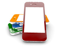 Colored smartphones Royalty Free Stock Image