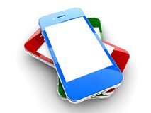 Colored smartphones Royalty Free Stock Photo