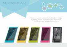 Colored smartphones templates. royalty free stock photo