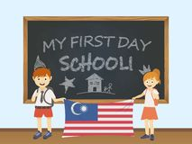 Colored smiling children, boy and girl, holding a national Malaysia flag behind a school board illustration. Vector cartoon illust. Ration of first school day royalty free illustration