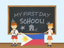Colored smiling children, boy and girl, holding a national Philippines flag behind a school board illustration. Vector cartoon ill vector illustration