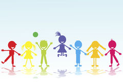 Colored smiling kids silhouettes Royalty Free Stock Images