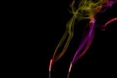 Colored smoke. In black background Stock Image