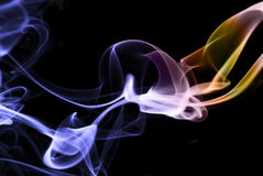 Colored smoke abstract on  black, horizontal Royalty Free Stock Images