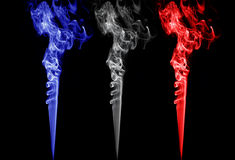 Colored smoke. france, holland, england, norway, poland, czech republic, slovenia flags colors Stock Photo