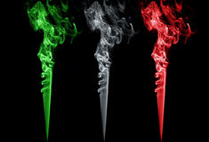 Colored smoke. Italy flag colors Royalty Free Stock Photo