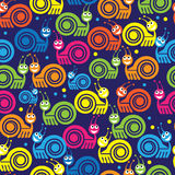 Colored snail icon seamless pattern Stock Photos
