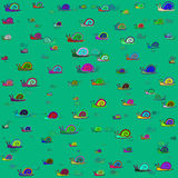 Colored snails pattern Stock Images