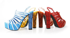Colored snakeskin heels collections Royalty Free Stock Photos