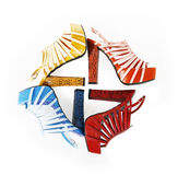 Colored snakeskin shoes in square composition royalty free stock image