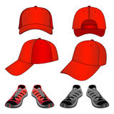 Colored sneakers & baseball cap set Royalty Free Stock Photography