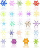 Colored Snowflakes Stock Images