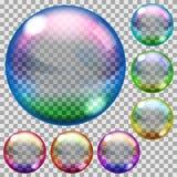 Colored soap bubbles. Set of transparent soap bubbles in various colors vector illustration