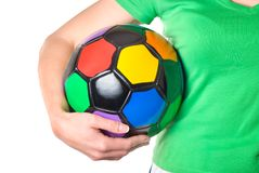 Colored soccer ball in a girl's hand Royalty Free Stock Images