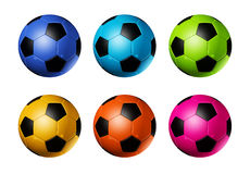 Colored soccer football balls Royalty Free Stock Images