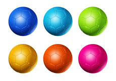 Colored soccer football balls. Colored 3D soccer balls isolated on white vector illustration