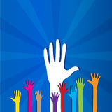 Colored social hands up donation Royalty Free Stock Photos