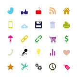 Colored social Icons. Zip includes 300 dpi JPG, Illustrator CS, EPS10, SVG. Vector file contain transparency, but it's EPS10 compatible Royalty Free Stock Photography