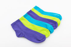 Colored socks in a row Royalty Free Stock Photos