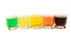 Colored soft drinks Royalty Free Stock Image