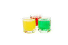 Colored soft drinks Stock Photography