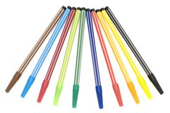 Colored soft-tip pen on white royalty free stock photos