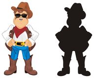 Two different cowboys. Colored and solid black cowboys stands together Royalty Free Stock Photos