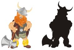 Two different vikings. Colored and solid black vikings with ax Stock Images