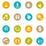 Colored Spa and Zen Icons on White. Assorted Colored Spa and Zen Icons Isolated on White Background Stock Photo