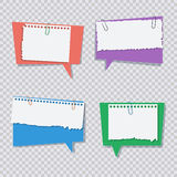Colored speech bubble with white torn paper pieces Royalty Free Stock Image