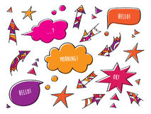 Colored speech bubbles and arrows. Set of elements. Hand drawing. Colored speech bubbles and arrows Stock Images