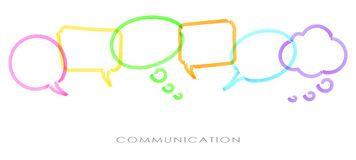 Colored speech bubbles drawn with highlighter. Illustration of colored speech bubbles in a row drawn with highlighter symbolizing communication stock illustration