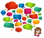Colored Speech Bubbles and Girl Avatar Stock Photos