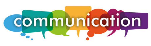 Colored Speech Bubbles Header Communication. Colored communication bubbles on the white background Royalty Free Stock Photos