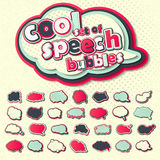 Colored speech bubbles, pop art. Pink 3d stickers, comic book Stock Images
