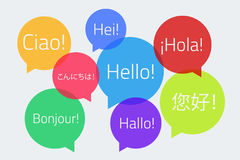 Colored speech bubbles with the text Hello in different language. S. English, German, French, Spanish, Japanese, Chinese, Finnish, Italian. Vector illustration royalty free illustration