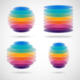 Colored sphere, cylinder, polygon and ellipse Stock Illustration