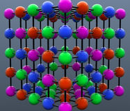 Colored spheres. 3d design. Colored spheres and connections Royalty Free Stock Photo