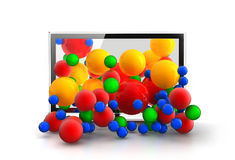 Colored spheres falling from 3D space. Colored spheres falling from 3D TV Stock Photos