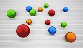 Colored spheres get down. On stairs Royalty Free Stock Photography
