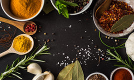 Colored spices with herbs on stone Royalty Free Stock Photo