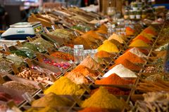 Colored spices at the marketplace Royalty Free Stock Images