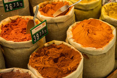 Colored spices on sale market Stock Photo