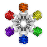 Colored spiral light bulbs lying radially Stock Photography